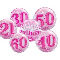 "Qualatex 22"" 'Pink Starburst Sparkle' Birthday Bubble Balloon (various)"